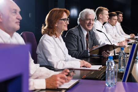 politicians: Politicians fight for votes on media press event Stock Photo