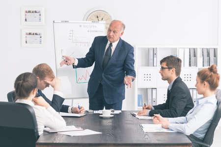 Senior-Unternehmer einen jungen Mitarbeiter vor anderen Mitgliedern einer Corporate Meeting Kritik