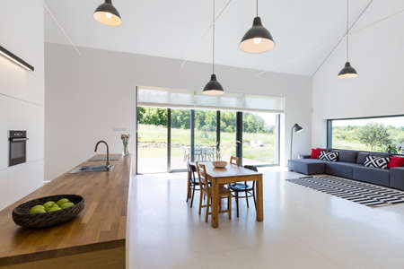 view of a spacious living room: Modern open plan project house with dining table