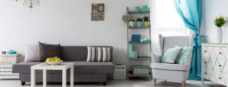 curtain background: Bright living room with grey sofa, armchair, commode and minimalistic rack
