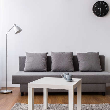 Nuovo soggiorno con comodo divano, tavolino e lampada a sospensione nera. Archivio Fotografico - 62755413