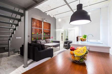 entresol: Shot of a spacious modern loft apartment