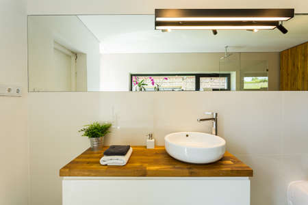 Natural wood furniture in elegant loft bathroom interior Stock Photo
