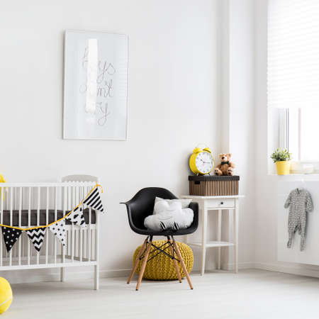 pouffe: Shot of a stylish nursery room