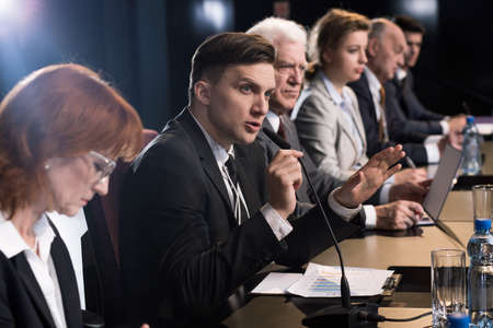Questions asked during an important press conference Stock Photo