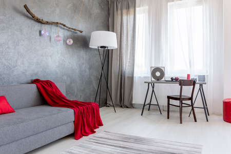 contemporary living room: Pleasant corner of a living room arranged in grey, with red accessories
