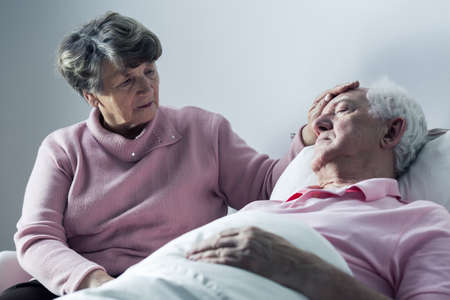 death: Elderly hospice patient and his caring wife