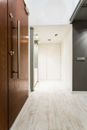 modern apartment: Shot of a spacious corridor in a modern apartment Stock Photo