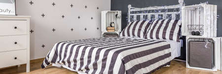 bedding: Bedding collection- striped black and white bedding set