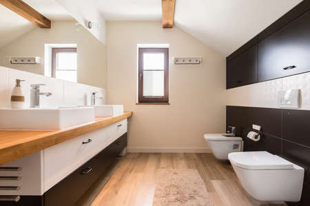 flor: Modern toilet with little fluffy carpet on the flor