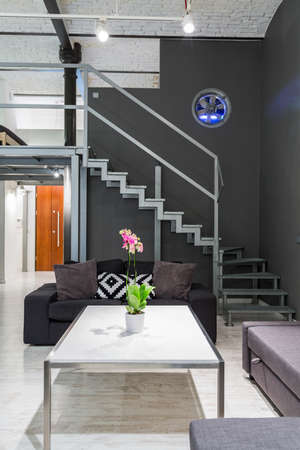 APARTMENT LIVING: Shot of a living room and an entresol in a modern loft apartment