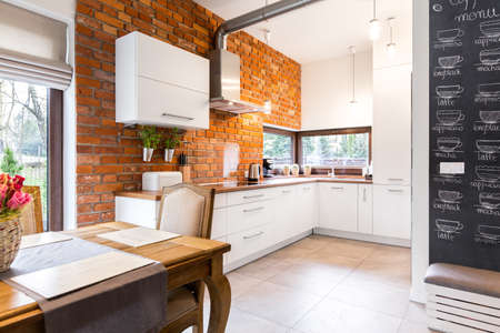 hassock: Picture of modern apartment with brick wall