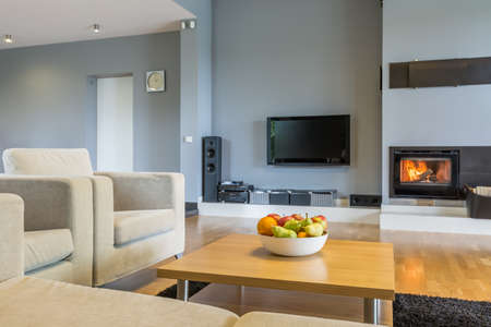 small room: Spacious living room in grey with sofa, armchair, small table, tv and fireplace