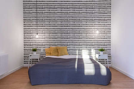 coverlet: Cozy and modern bedroom with a double bed Stock Photo
