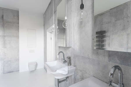 Modern Bathroom Decorated With Gray Concrete And White Tiles Sanitary Equipment Stock Photo