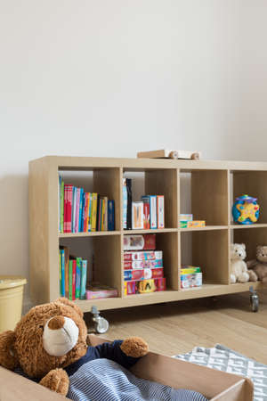 Child room with bookstand full of books and toys Zdjęcie Seryjne