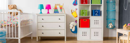 panoramic: Colorful cosy room for infant baby and toddler Stock Photo