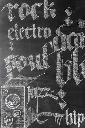 genres: Chalkboard wall with hand-drawn music genres names