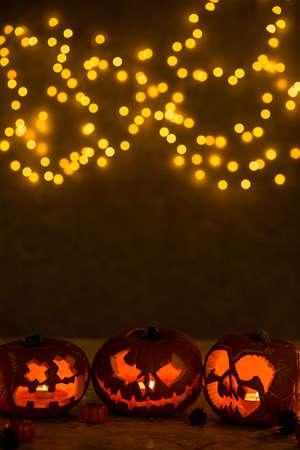 lightening: Halloween pumpkin lanterns lightening in a dark