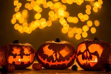 Three spooky jack-o-lanterns made for halloween Stock Photo