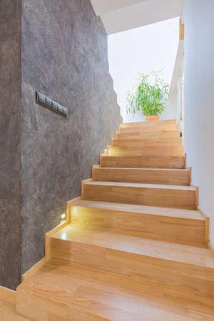 alumbrado: Pasillo moderno con el parquet de madera en las escaleras, con la pared cian y una maceta con la planta