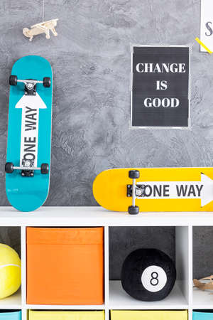 bola de billar: Blue and yellow skateboards on a commode with black pool ball Foto de archivo