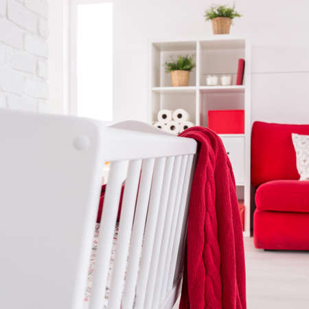 cosy: Shot of a crib in a modern cosy nursery Stock Photo