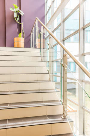 potted plant: Stairs leading to mezzanine where is standing potted plant Stock Photo