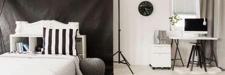 Moderna sala interna con combinazione di colori bianco e nero