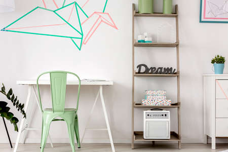 wall decor: Simple home office with decorative washi tape wall decor