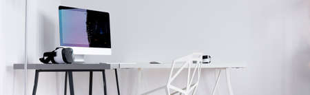 panorama: Panoramic view of a new design white home office with crystal chair and desk
