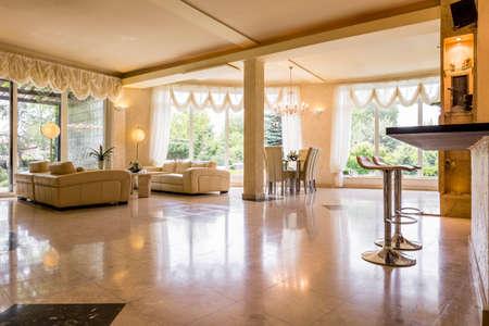 living room sofa: Shot of a spacious stylish living room with big sofas