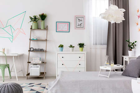 wall decor: Light bedroom and office combined and creative wall decor