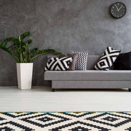 Spacious living room decorated in minimalist style. Grey sofa, white wooden floor and carpet in pattern Reklamní fotografie