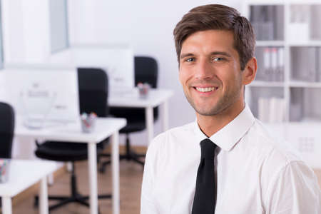 young businessman: Portrait of a young smiling businessman in an office