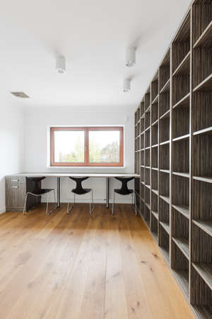 Idea for home library- wall with big rack Stock Photo
