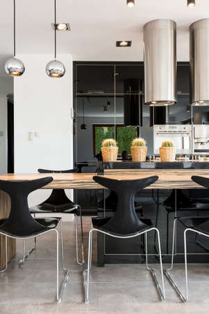 lacquered: Modern black and white kitchen with zebrano pattern Stock Photo