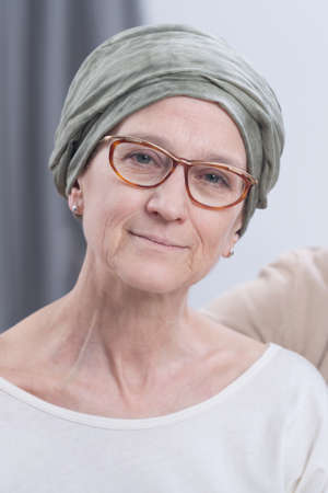 incurable: Portrait of mature female patient with cancer Stock Photo