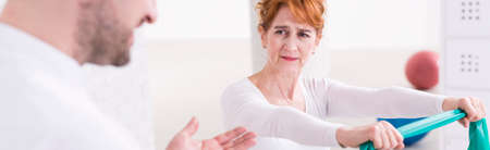 Shot of a confused woman being instructed by a physiotherapist