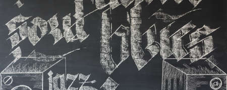 chalky: Blackboard wall background with white chalky drawings on it
