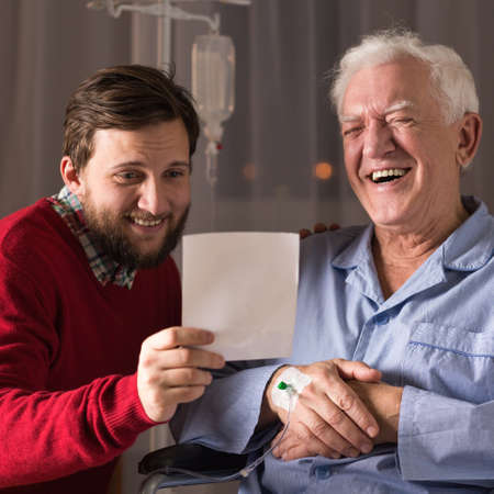 senility: Image of relation between ill father and helpful son