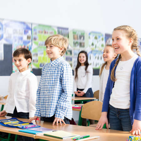 child boy: Shot of a group of happy children standing in a classroom Stock Photo