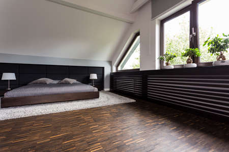 kingsize: Shot of a king-size bed in a modern spacious bedroom with big windows