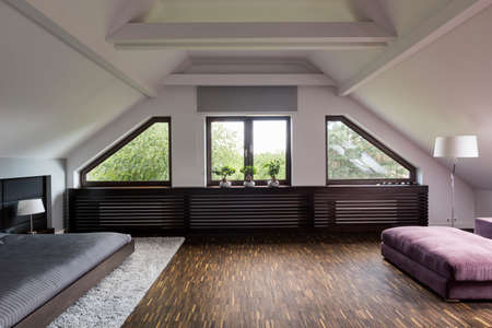 spacious: Shot of a spacious bedroom with big windows
