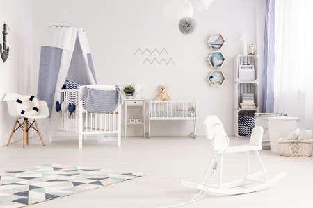 white interior: Spacious nautical baby style interior with white furniture