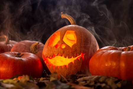 One funny halloween pumpkin in dark and smoke Stock Photo