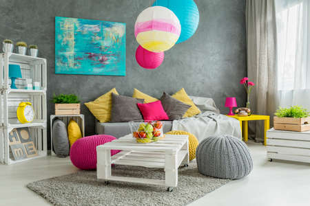 colorful chairs for living room. New design grey living room with colorful details and window photo Cozy Living Room In Grey With Window  Modern Furniture And