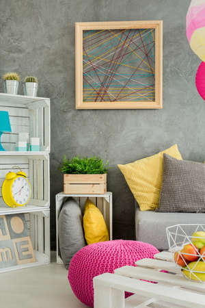 decorative wall: Photo of a modern flat in grey with DIY furniture and decorative wall finish Stock Photo