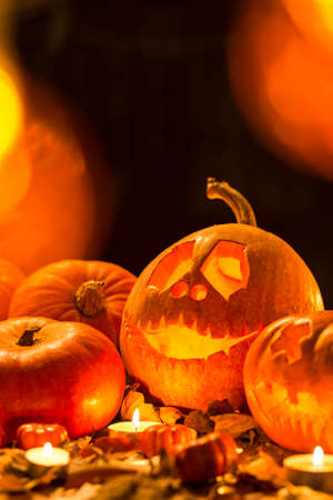 Carved pumpkin as symbol of happy halloween tradition Stock Photo
