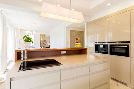 lacquered: Modern house and spacious open plan kitchen in beige